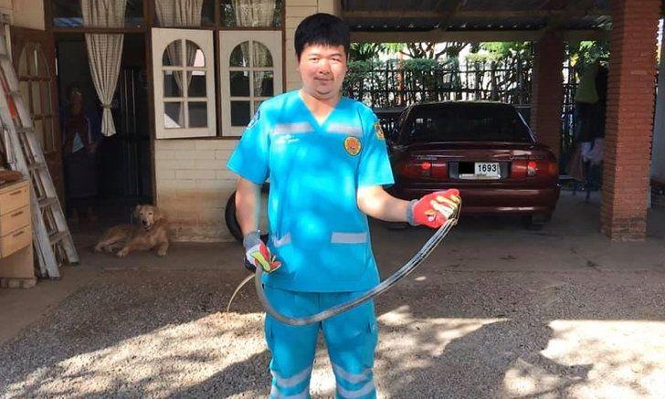 งูแอบซุกถังแก๊สบ้านคุณยาย คอหวยจับตาเลขที่บ้านบังเอิญตรงกับทะเบียนรถ